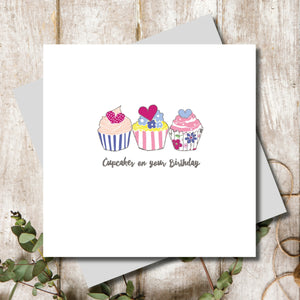 Ditsy Happy Birthday Cupcake Greeting Card
