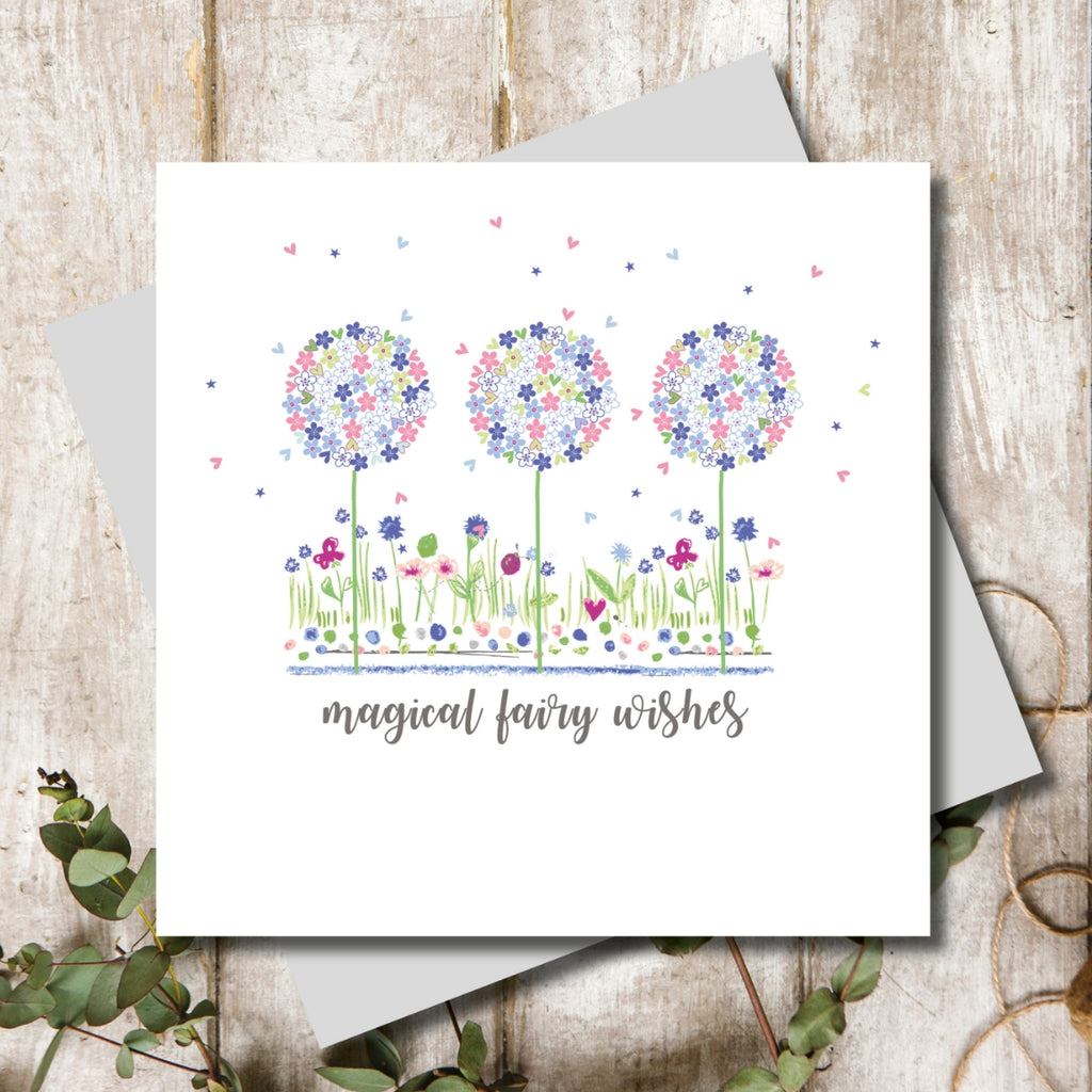 Magical Wishes Flowers Greeting Card