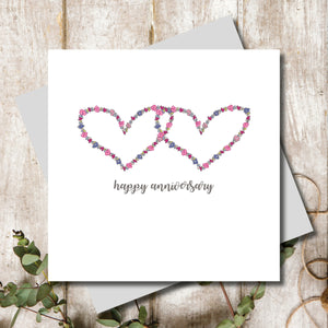 Ditsy Wedding Anniversary Greeting Card