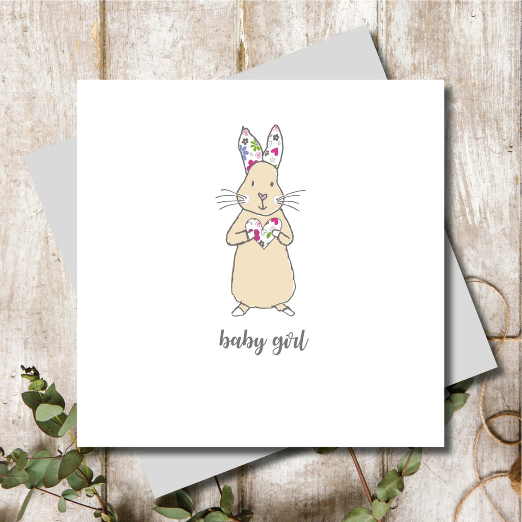 New Born Baby Girl Rabbit Greeting Card
