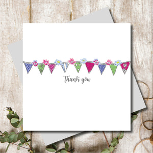 Ditsy Thank You Bunting Greeting Card