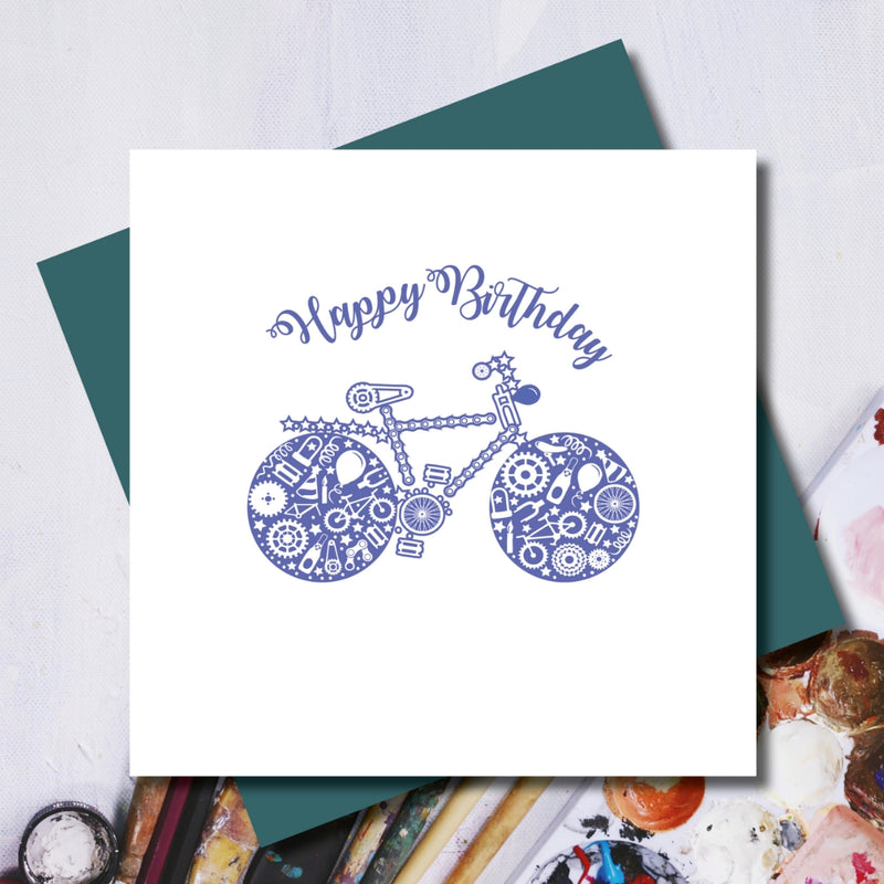 Daisy Happy Birthday Racing Bike Greeting Card