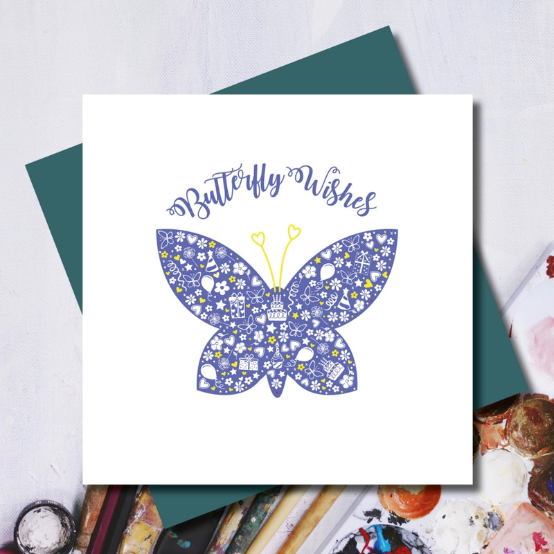 Daisy Butterfly Birthday Wishes Greeting Card