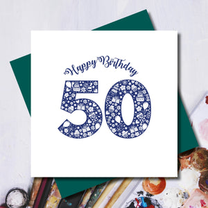 Daisy 50th Happy Birthday Greeting Card