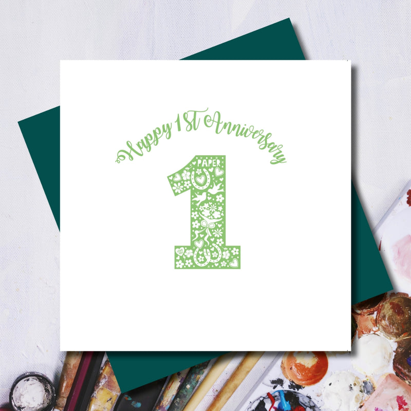 Happy 1st Paper Wedding Anniversary Greeting Card