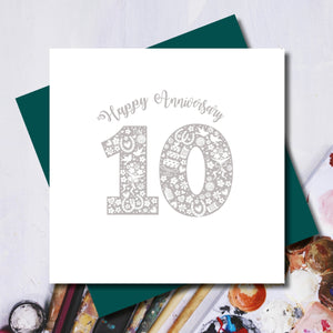 Daisy 10th Tin Wedding Anniversary Greeting Card