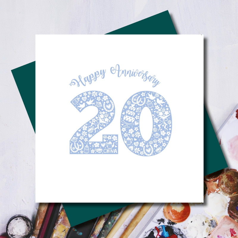 Happy 20th Wedding Anniversary China Greeting Card