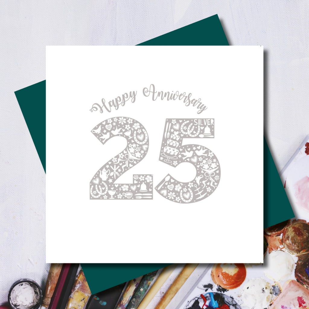 Daisy 25th Wedding Anniversary Greeting Card