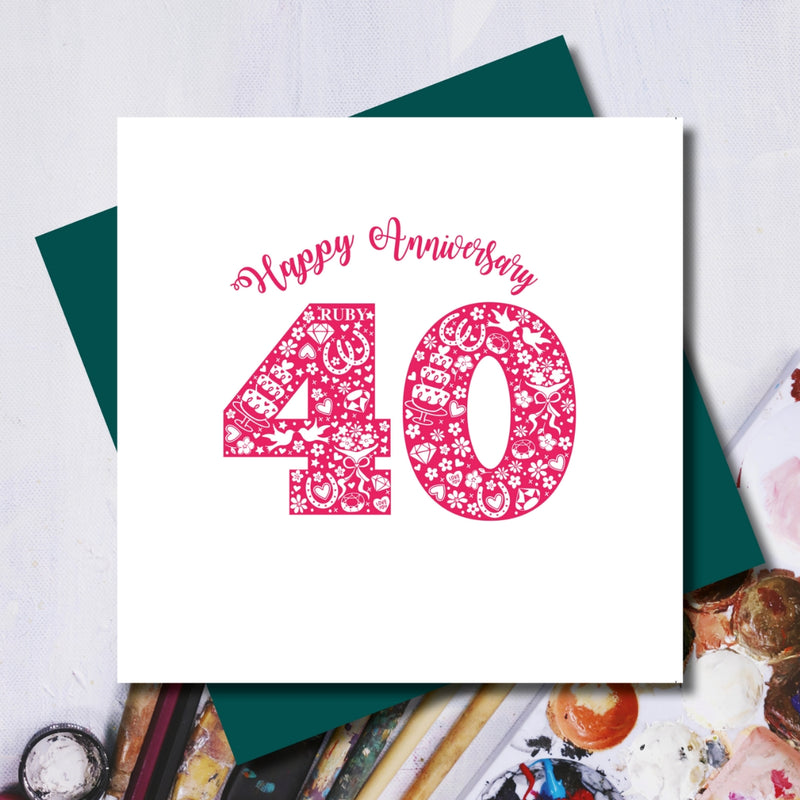 Ruby 40th Wedding Anniversary Greeting Card