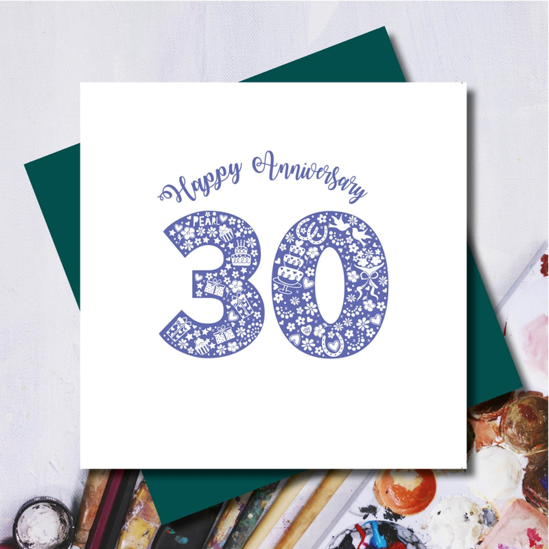 Pearl 30th Wedding Anniversary Greeting Card