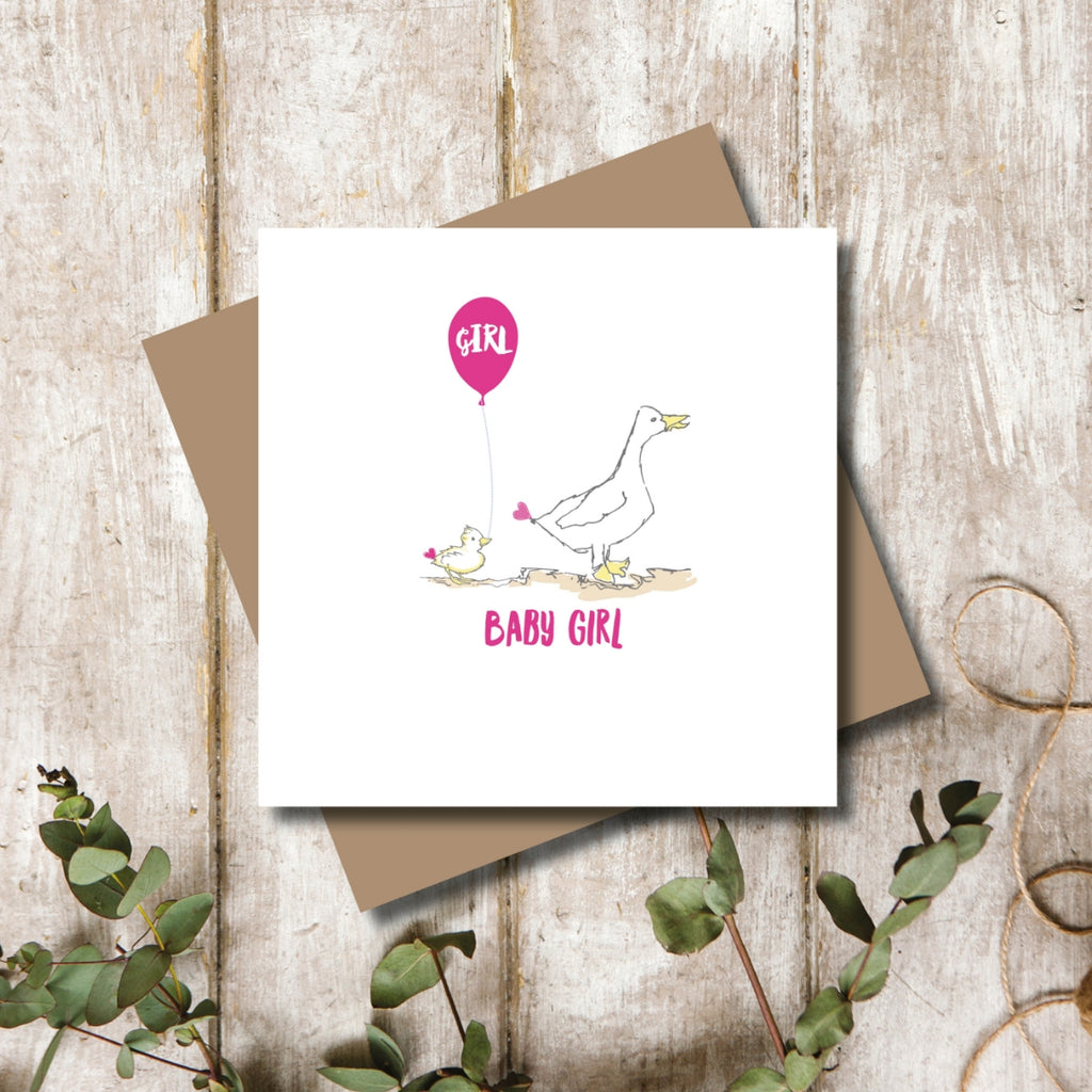 Quacking Baby Girl New Born Greeting Card