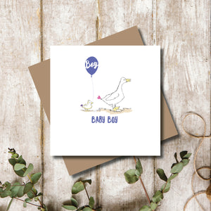 Quacking Baby Boy New Baby Greeting Card