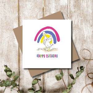 Rainbow Duck Happy Birthday Greeting Card