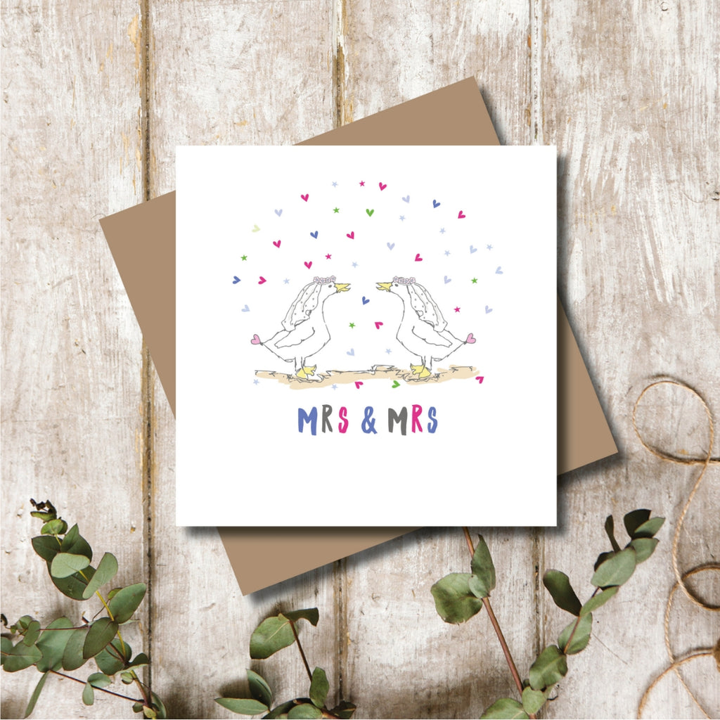 Wedding Mrs and Mrs Greeting Card