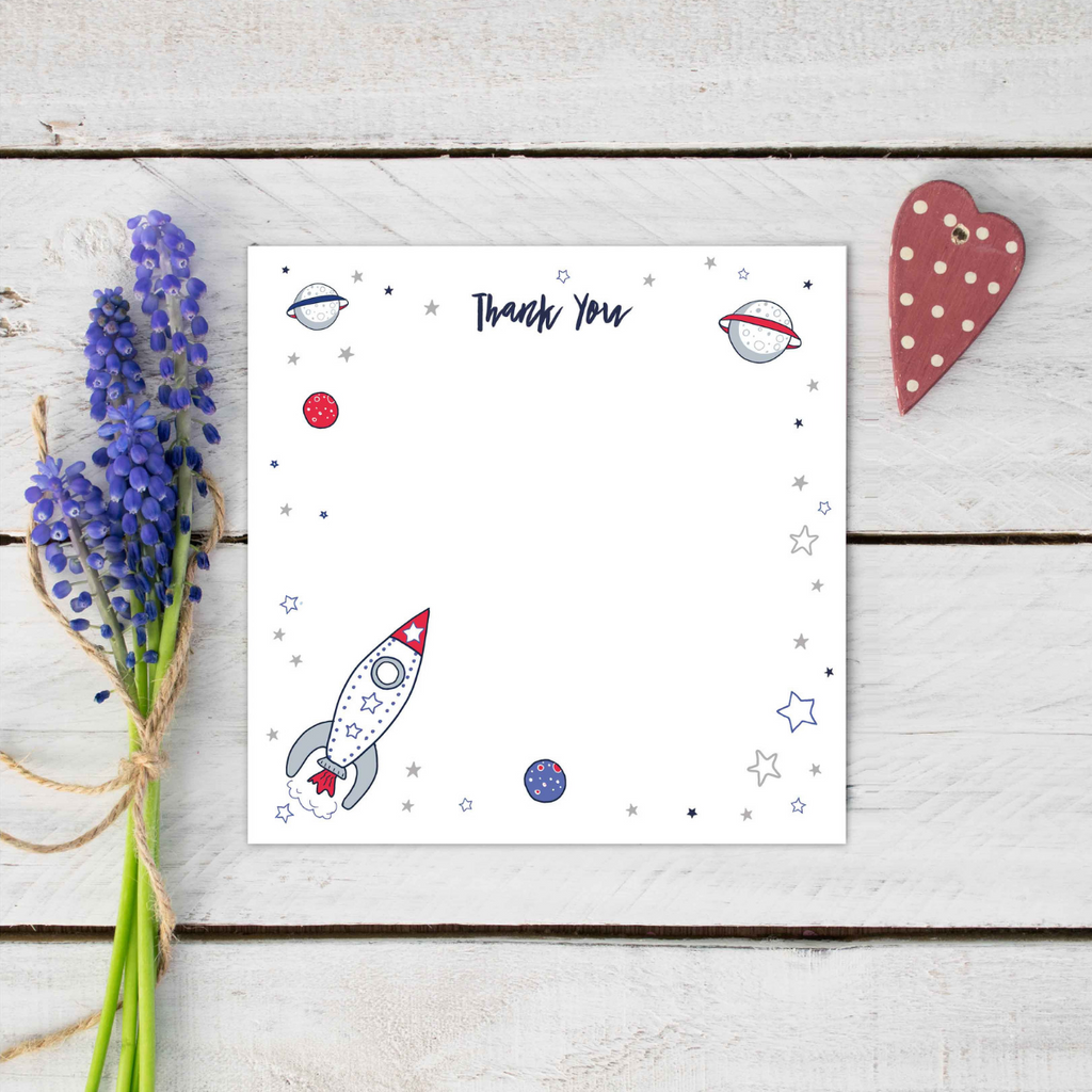 Rocket Out of Space Thank You Stationery Set