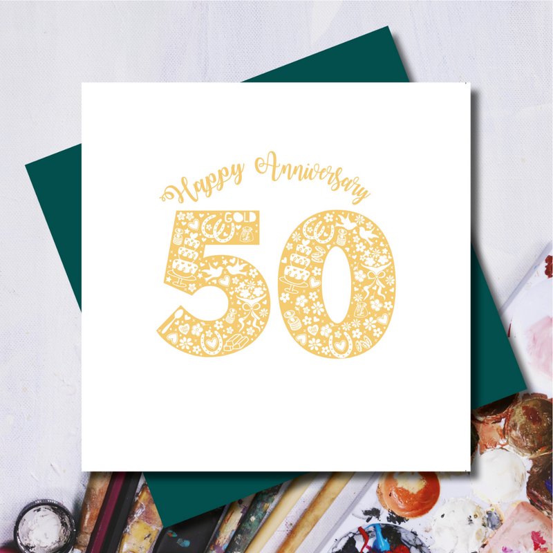 Daisy 50th Wedding Anniversary Greeting Card