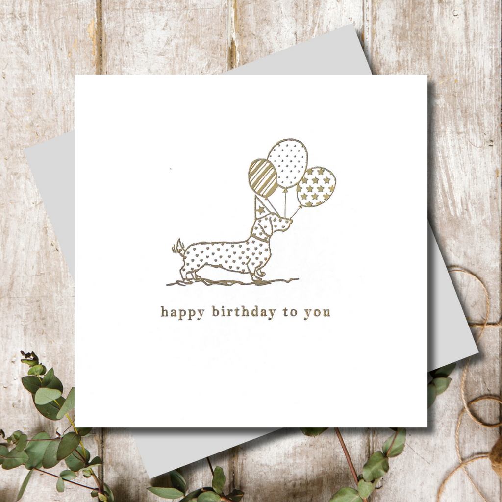 Dachshund Dog Birthday Balloons Greeting Card
