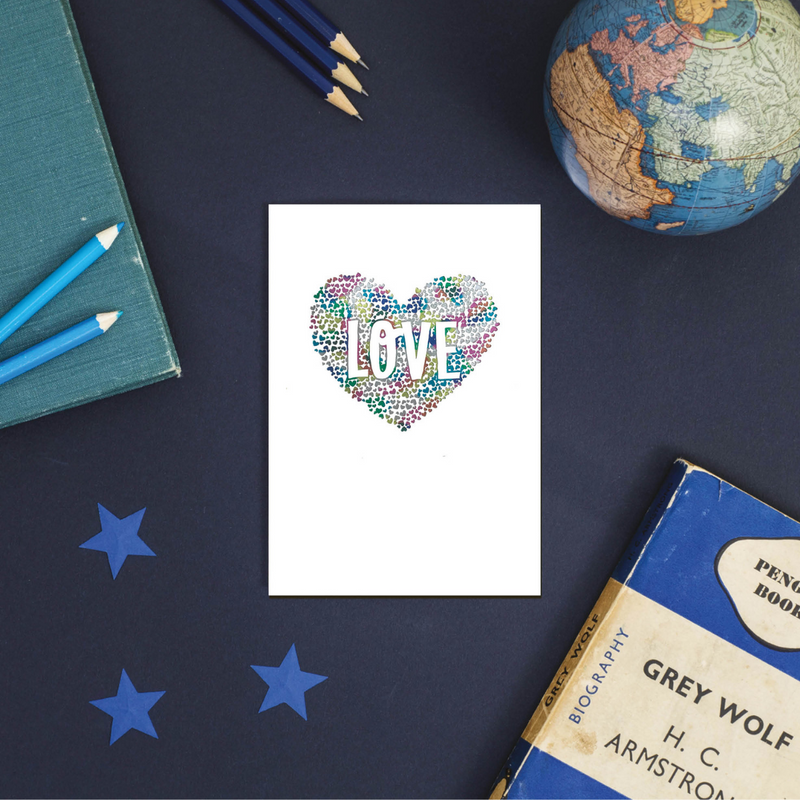 Rainbow Love Heart Greeting Card