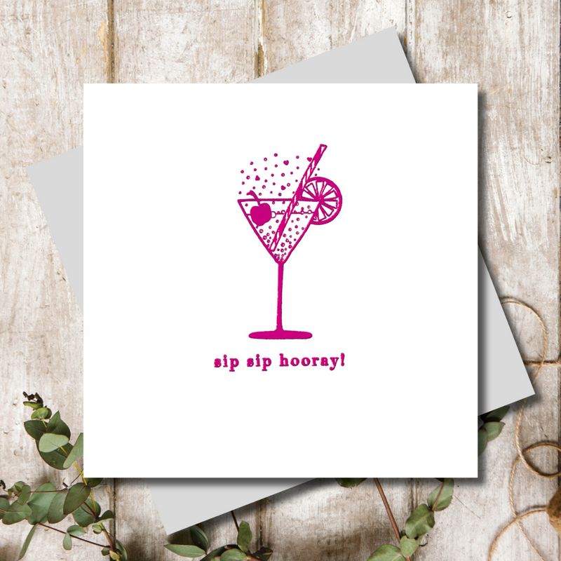 Pink Cocktail Birthday Greeting Card
