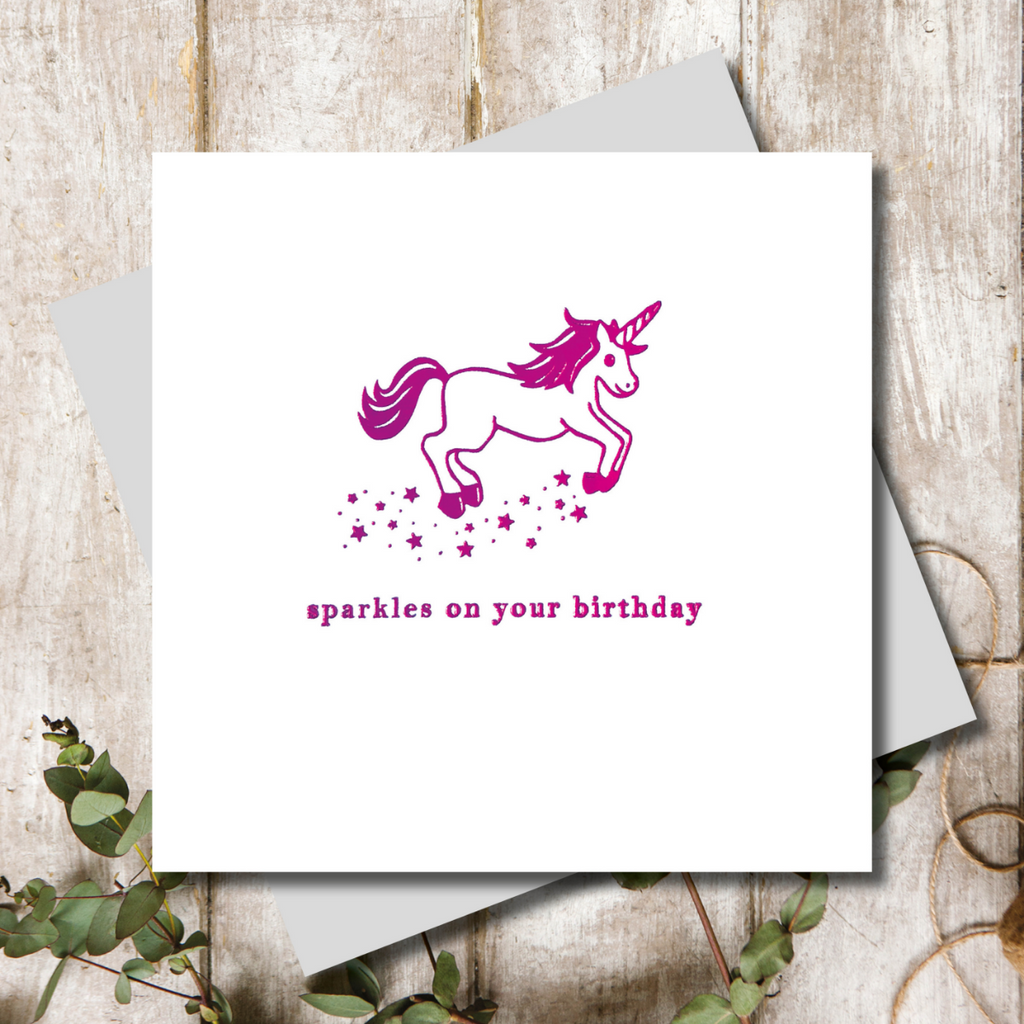 Unicorn Birthday Shimmer Greeting Card