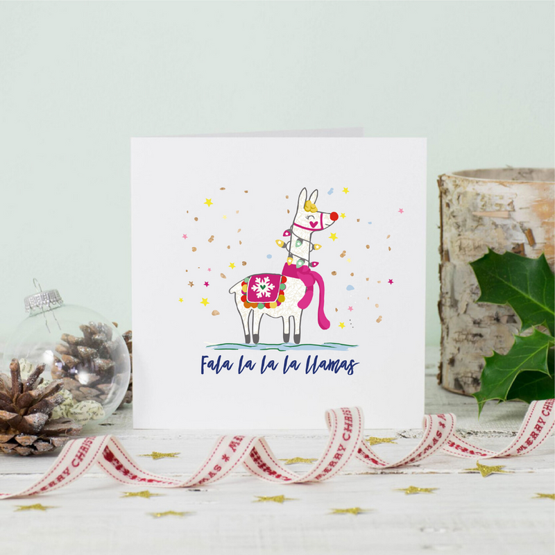 Fala la la la Llamas Christmas Greeting Card