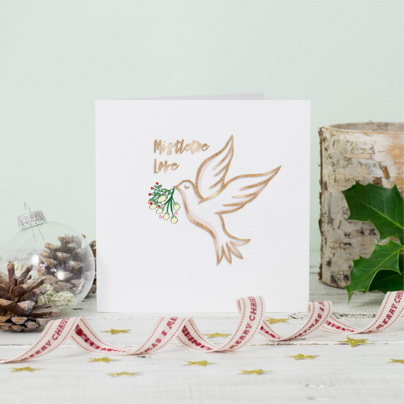 Christmas Mistletoe Dove Greeting Card