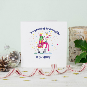 Llama Granddaughter Christmas Greeting Card