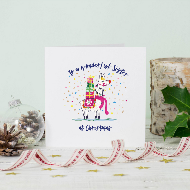 Llama Sister Christmas Greeting Card