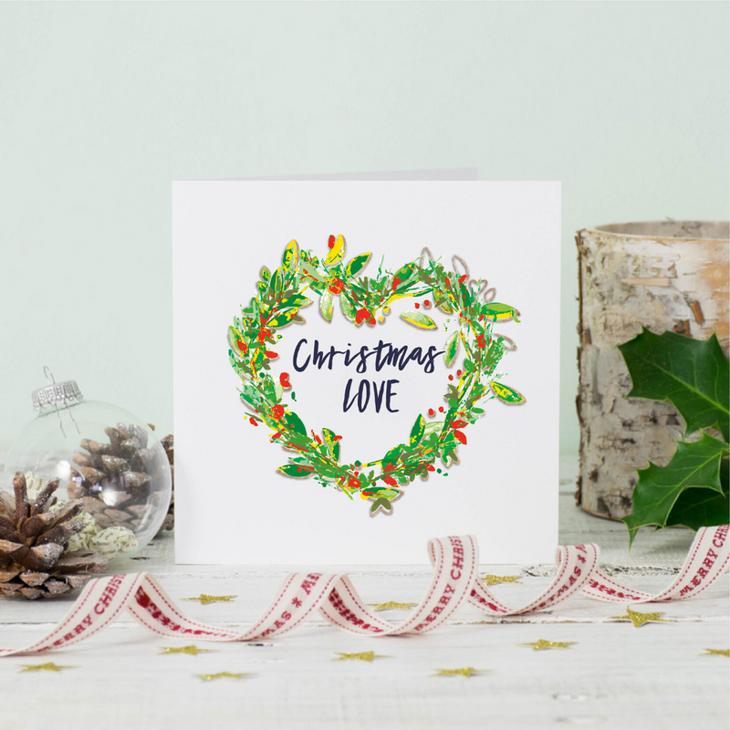 Christmas Love Wreath Greeting Card