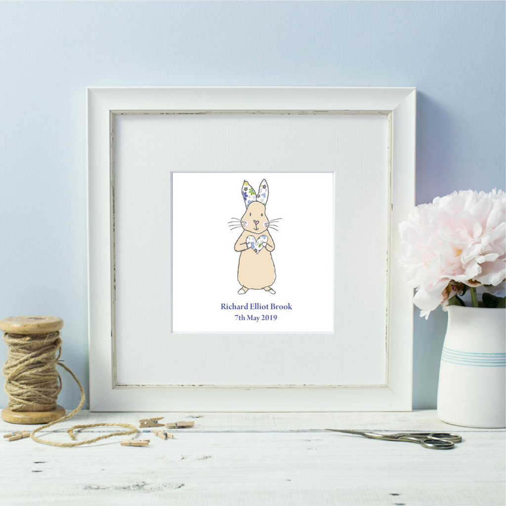 Personalised Floral Blue Baby Bunny Named White Framed Print