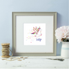 Personalised Rainbow Unicorn Girl Grey Framed Print