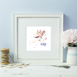 Personalised Rainbow Unicorn Girl White  Framed Print