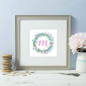 Personalised initial named green floral wreath grey framed print
