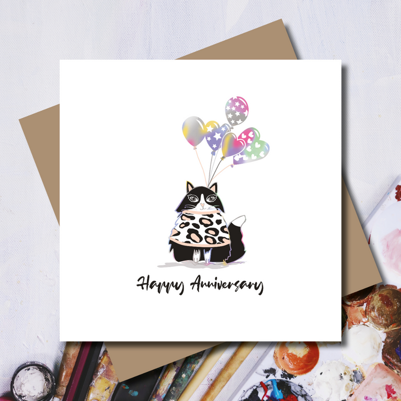 Cat Anniversary Heart Balloons Rainbow Foil Greeting Card