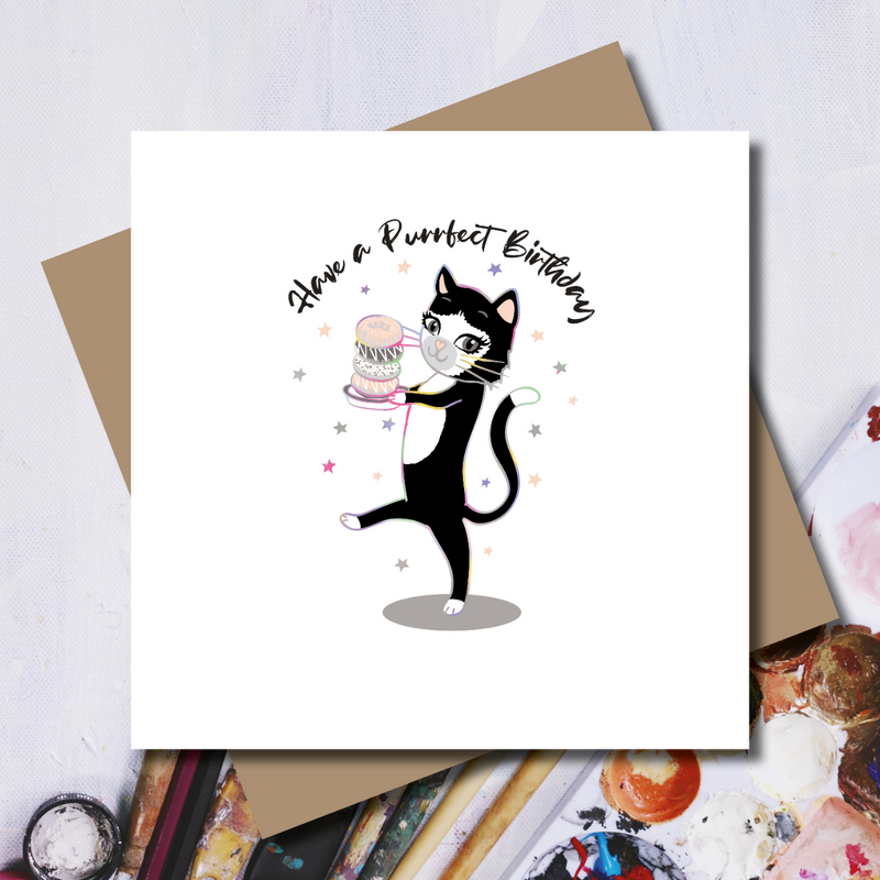 Purrrfect Cat Doughnut Birthday Rainbow Foil Greeting Card
