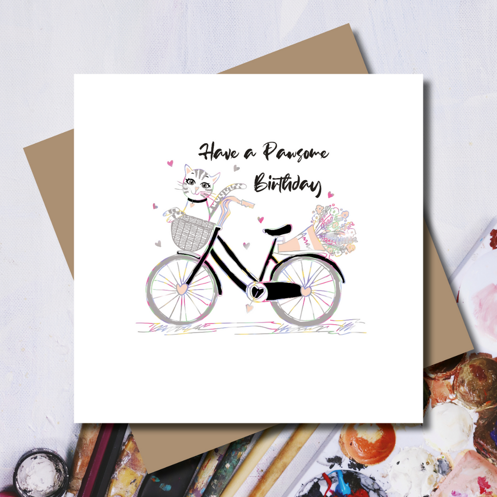 Pawsome Cat on a Birthday Bike Rainbow Foil Greeting Card
