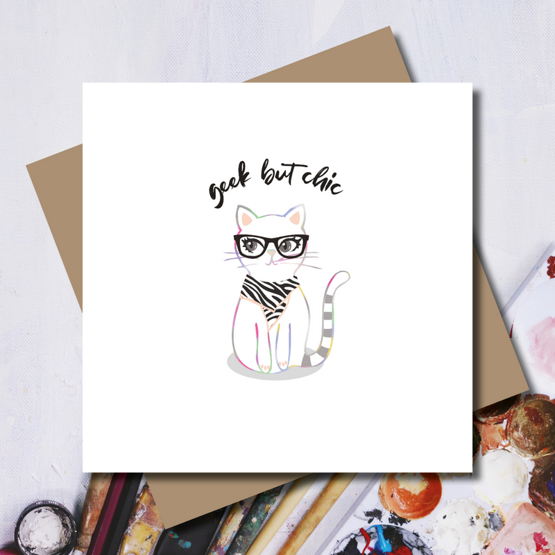 Ditsy Kat Geek but Chic Rainbow Foil Greeting Card