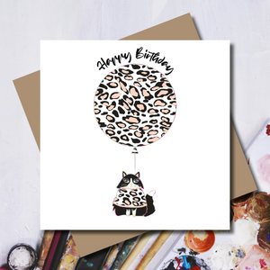 Ditsy Cat Leopard Print Balloon Rainbow Foil Greeting Card