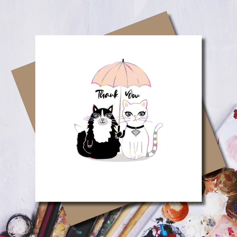 Under the Umbrella Thank You Cat Rainbow Foil Greeting Card