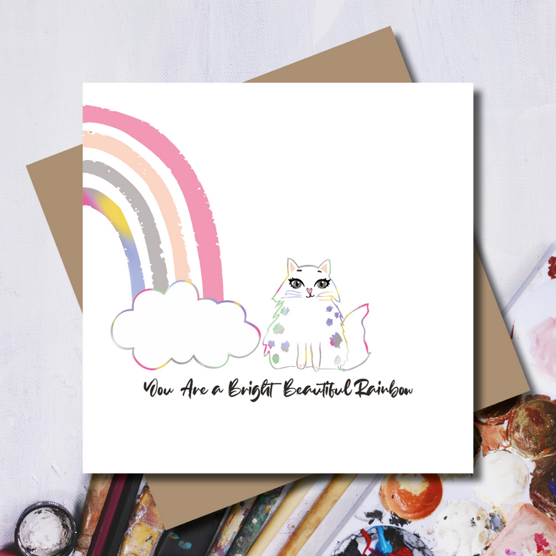 You are a bright beautiful Cat Rainbow Foil Greeting Card