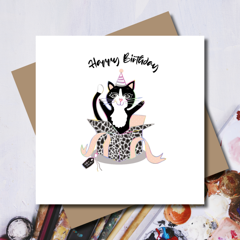 Surprise! Ditsy Kat Birthday Present Rainbow Foil Greeting Card