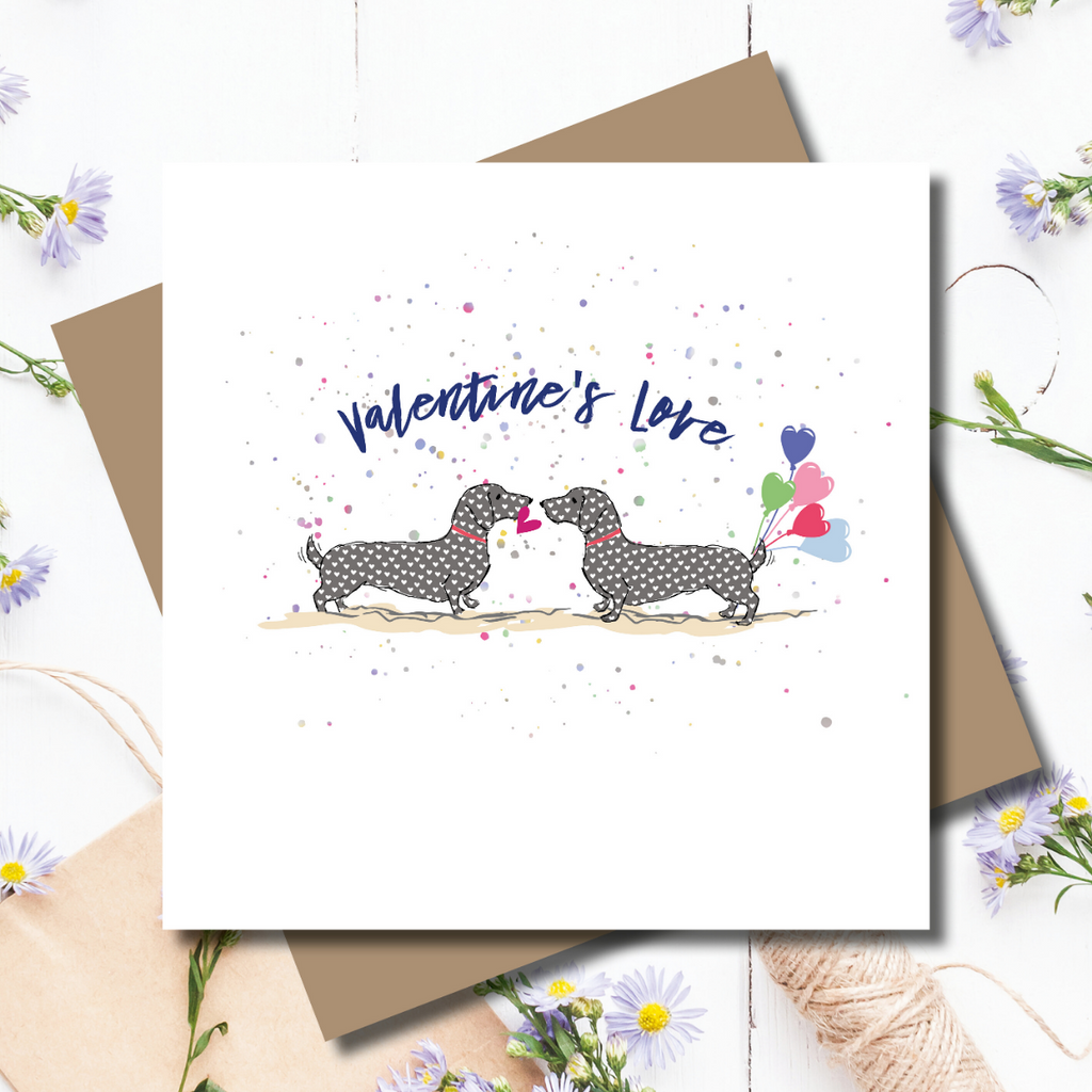 Valentine Dachshund Dogs Greeting Card