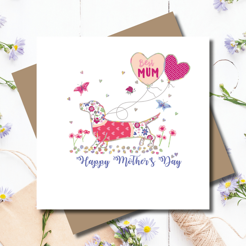 Ditsy Mum Dachshund Dog Greeting Card