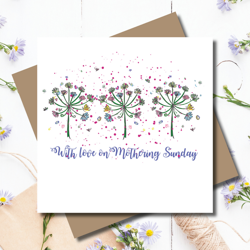 Flower Power Mothering Sunday Day Foiled Greeting Card