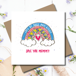 Love and Hugs Rainbow Mother's Day Foiled Greeting Card