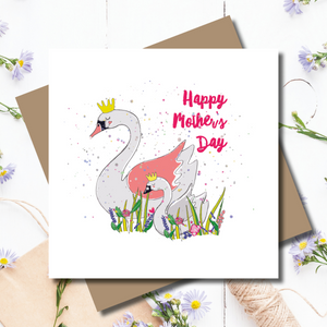 Swan Lake Mother's Day Rainbow Foil Greeting Card