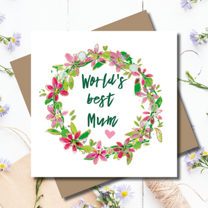 Ditsy Fleur Best Mum Wreath Rose Gold Foiled Greeting Card