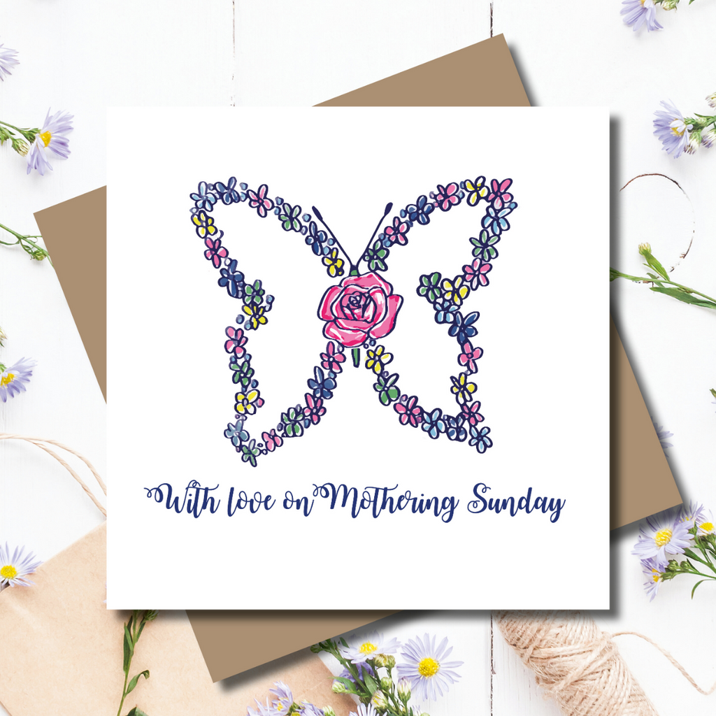 Flower Love Butterfly Mothering Sunday Greeting Card