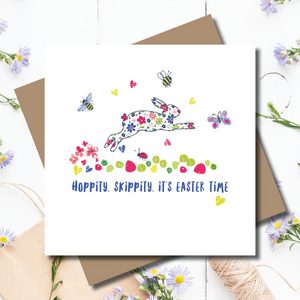 Jumping Flopsy Easter Bunny Greeting Card