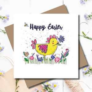 Happy Easter Ditsy Chick Rainbow Foiled Greeting Card